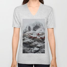 Mountain Village In Norway Unisex V-Neck