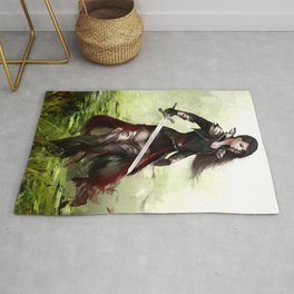 Lady knight - Warrior girl with sword concept art Rug