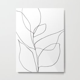 Minimalist Line Art Plant Drawing Metal Print