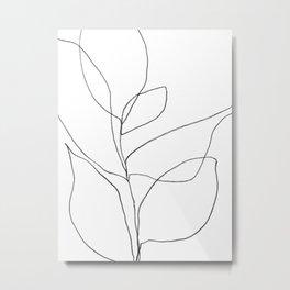 Minimalist Line Art Plant Drawing Metal Print