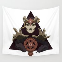 feminism Wall Tapestries featuring EVIL FEMINIST CULT OF FEMINISM AND EVIL by Annan Åkerman