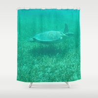 turtle Shower Curtains featuring Turtle by MR_W