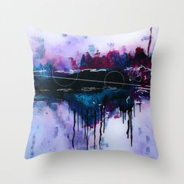 Dawn, pink and fushia black and blue acrylic abstract artwork Throw Pillow