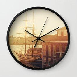 Tall Ship on Waterfront Wall Clock