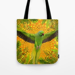 MAGNIFICENT GREEN PARROT GOLD JUNGLE MODERN ART Tote Bag