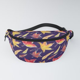 Falling leaves pattern (purple background) Fanny Pack