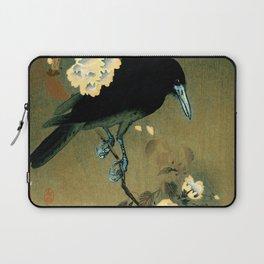 12,000pixel-500dpi - Ohara Koson - Top Quality Art - Crow and Blossom Laptop Sleeve