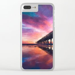 The Pier Sunset Clear iPhone Case