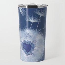 Love Blue Dandelions Hearts Design Travel Mug