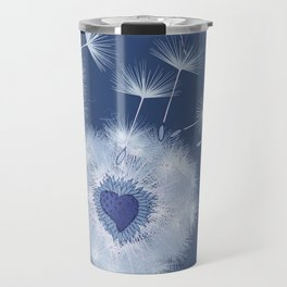 Love Blue Dandelions Hearts Design Travel Mug