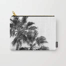 B&W Palm Tree Print | Black and White Summer Sky Beach Surfing Photography Art Carry-All Pouch