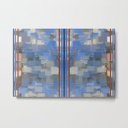 Blue Lagoon Calm Striped Abstract Metal Print