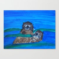otters Canvas Prints featuring Sea Otters by Anna Kozlowski