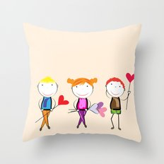 Children with hearts Throw Pillow