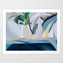 Morrocleaf: a bright, abstract still-life painting in blue, beige and green Art Print