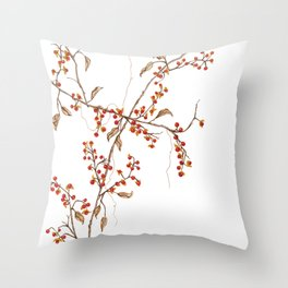 Of red and leaves Throw Pillow