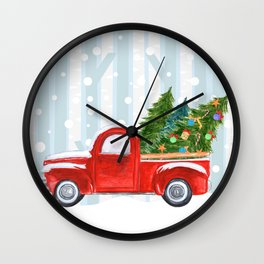 Christmas Red PickUp Truck on a Snowy Road Wall Clock