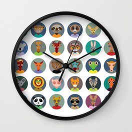 Set of animals faces circle icons set in Trendy Flat Style. zoo Wall Clock