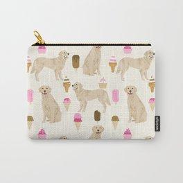 Golden Retriever dog breed pet portrait ice cream custom pet illustration by pet friendly Carry-All Pouch