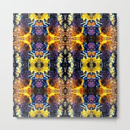 Mystic Yellow Blue Ornament Pattern Metal Print