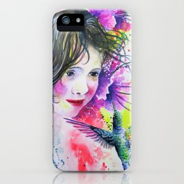 Hummingbird and Little Girl iPhone Case