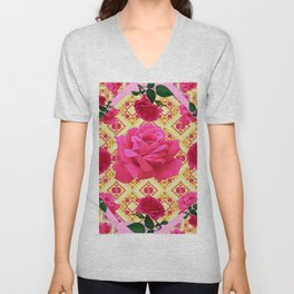 PINK & RED GARDEN ROSES PATTERN PINK ABSTRACT Unisex V-Neck