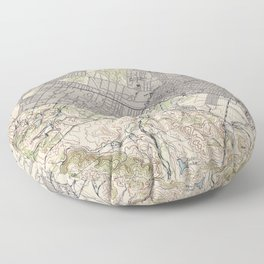 Old Map of Palo Alto & Silicon Valley CA (1943) Floor Pillow