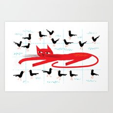 Cat Amongst The Pigeons Art Print