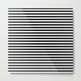 Even Horizontal Stripes, Black and White, S Metal Print
