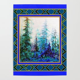 WESTERN  BLUE FOREST WATER COLOR TEAL PATTERN ART Poster