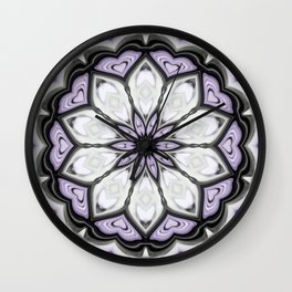 Ultra Violet Silver and Lilac Abstract Floral Pattern Wall Clock