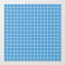 Carolina blue - turquoise color - White Lines Grid Pattern Canvas Print