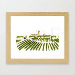 Early morning in the vineyard: a watercolor from the Hâut-Médoc Framed Art Print