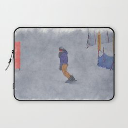 Sliding into Home - Winter Snowboarder Laptop Sleeve