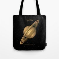saturn Tote Bags featuring Saturn by Terry Fan