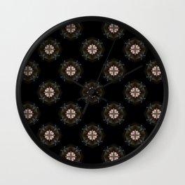 Beige Cross Flower Pattern Wall Clock