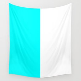 White and Aqua Cyan Vertical Halves Wall Tapestry