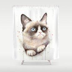 Grumpy Watercolor Cat Animals Meme Geek Art Shower Curtain