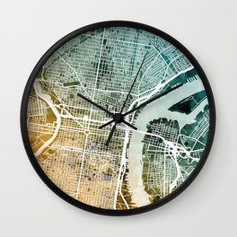 Philadelphia Pennsylvania Street Map Wall Clock
