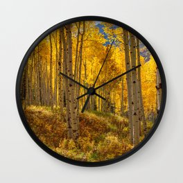 Autumn Aspen Forest in Aspen Colorado USA Wall Clock