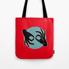 Sign Language (ASL) Interpreter – Black on Turquoise 01 Tote Bag