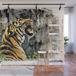 Tiger roar Woodblock Style Wall Mural