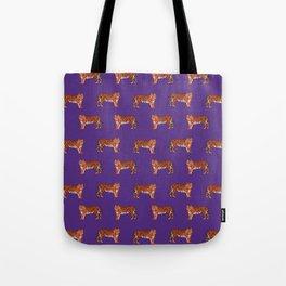 Tigers orange and purple clemson football fan varsity university college athletics Tote Bag