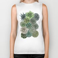 succulents Biker Tanks featuring An Assortment of Succulents by ECMazur
