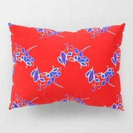 Tile #2 Red-White Line Art on Red Pillow Sham