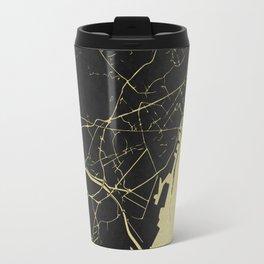 Barcelona Black and Gold Map Travel Mug