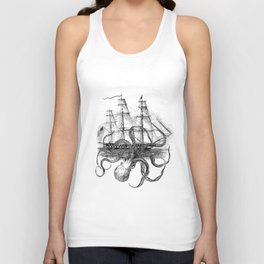 Octopus Kraken attacking Ship Antique Almanac Paper Unisex Tank Top