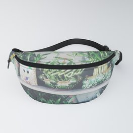 green bamboo plant in the vase pattern background Fanny Pack