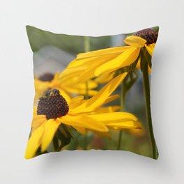 Bee on a Sunflower Throw Pillow