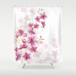 Spring Cherry Blossom Floral Watercolor Style Shower Curtain
